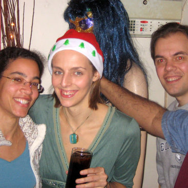 Cécile, Pippa and Christian make merry at the MRC Clinical Sciences Centre Christmas party.