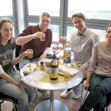 The Group enjoys the Apfelwein that Juergen brought from Germany, his home.