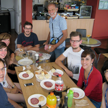 Italian lunch hosted by Marta Barbon's parents in the MRC Clinical Sciences Centre 6th floor café.