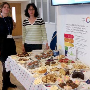 Daphne Jackson Trust bake sale . . . Indiana Magdalou and Katalin Kondis