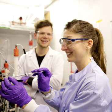 Marta Barbon and Max Reuter keep cool while purifying proteins using the ÄKTA system